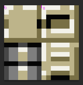 /><br /> <br /> If you want to draw the 2nd tile, you'd tell WebGL to take the part of the texture that starts at <code>(8,0)</code> to <code>(16, 8)</code>. Notice however, that in the image above, that the coordinates <code>(8,0)</code> are right <em>between</em> the two tiles. The rectangle that you actually want to draw starts at <code>(8.00001, 0)</code> to <code>(15.99999, 7.99999)</code>. For <code>bilinear</code> texture filtering, taking the point right between the two tiles is actually much more noticeable, because it will sample the neighboring pixels in all directions. With <code>nearest</code> filtering and perfect accuracy, this shouldn't be visible at all - in theory.<br /> <br /> However, in WebGL texture coordinates are normalized and represented as floating point, meaning the top left corner of the texture is at <code>(0.0, 0.0)</code> while the bottom right corner is always at <code>(1.0, 1.0)</code>, regardless of the texture's size. In the example the texture coordinates for the 2nd tile are <code>(0.0, 0.5)</code> to <code>(0.5, 1.0)</code>. Under some circumstances, this introduces rounding errors.<br /> <br /> Curiously, this doesn't happen in IE, because IE uses Direct3D to draw WebGL stuff, instead of OpenGL like Firefox and Chrome does. Also, for OpenGL it may be more or less noticeable on different hardware. Intel GPUs are usually the worst offenders here.<br /> <br /> Sooo, there are a couple of ways to work around this:<br /> <br /> 1) Avoid having tiles with very different colors next to each other in the tileset<br /> <br /> 2) Use a size for the whole tileset that is a power of two. I.e. 64, 128, 256, 512 etc. The tileset doesn't have to be quadratic, e.g. 512x64 is fine. This circumvents most floating point rounding errors.<br /> <br /> As an example, imagine 8x8 pixel tiles and a tileset that is 48px wide. If you want to draw the 2nd tile, starting at <code>(8, 0)</code>, this would be represented as floating point <code>(0.1666666